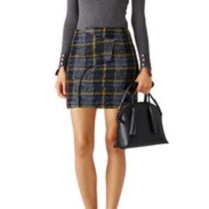Derek Lam 10 Crosby Plaid Wrap Mini Wool Skirt